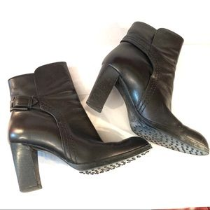 Tods Black Leather Ankle Bootie Heel Buckle  5.5